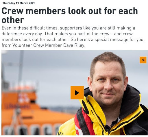 Image of Royal Navy Lifeboat Institute's video on how crew members are looking out for each other.