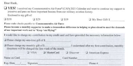 A calendar appeal from Commemorative Air Force