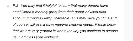 An example from Jack Doyle of Amergent on sharing that donors can give monthly through DAFs.