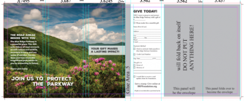 Self-mailer brochure layout (with fold lines)