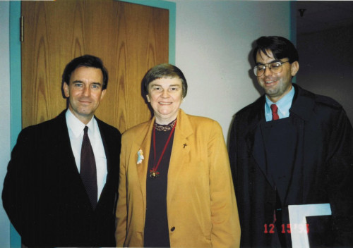 Left to right: Brent Kennedy, Sister Mary Rosina Bayliss, Jeff Jowdy