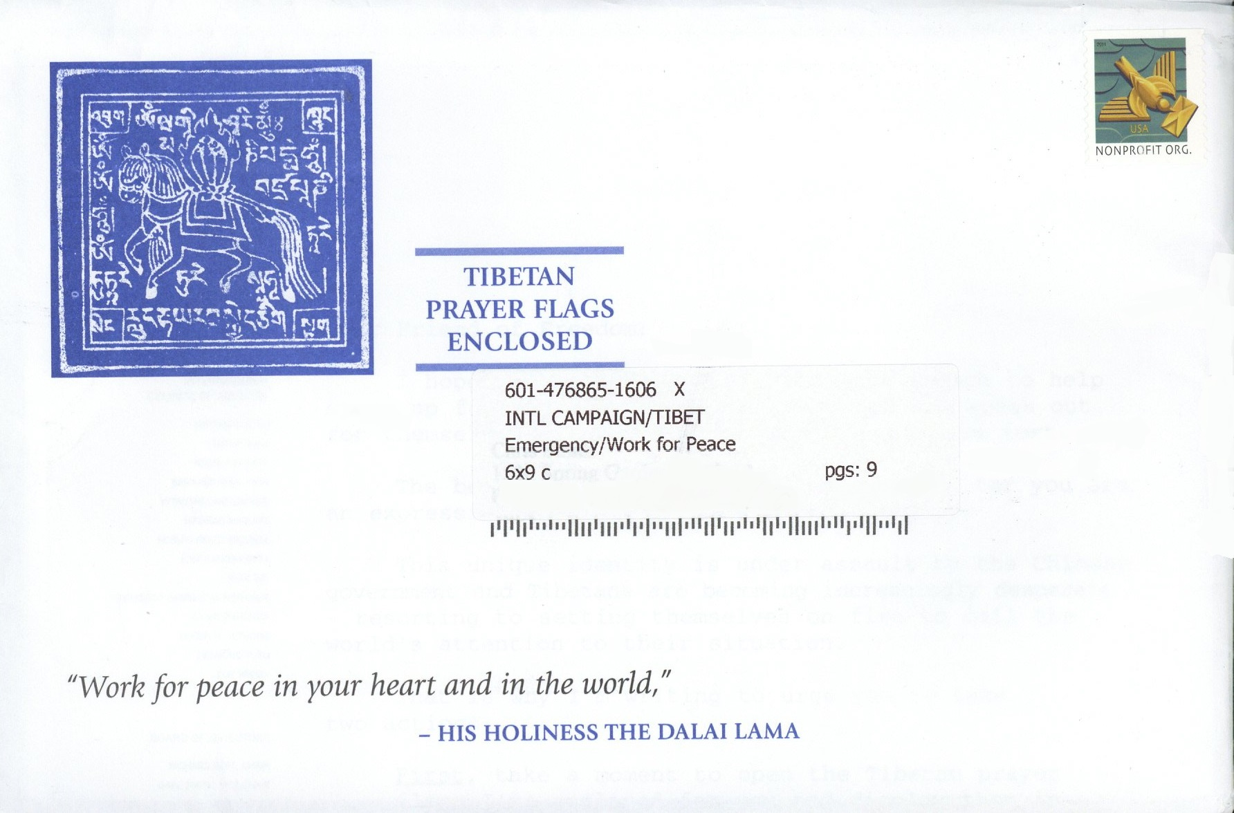 Anatomy of a Direct Mail Control: International Campaign for Tibet ...